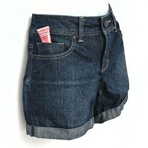 5 pocket dark blue denim shorts
